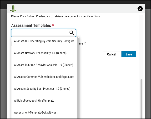 AWS Connector - Assessment Template Select