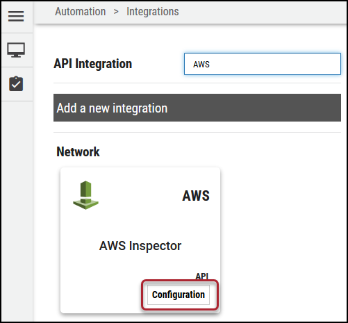 AWS Connector - Configuration Button Location