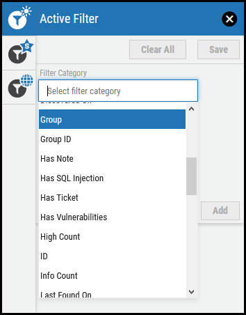 Active Filter - Filter Category