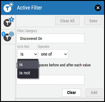 Active Filter Overview - Is Is Not Menu