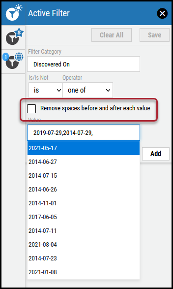 Active Filter Overview - Remove Spaces Checkbox