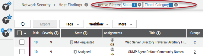 Active Filters - Top of Page Details