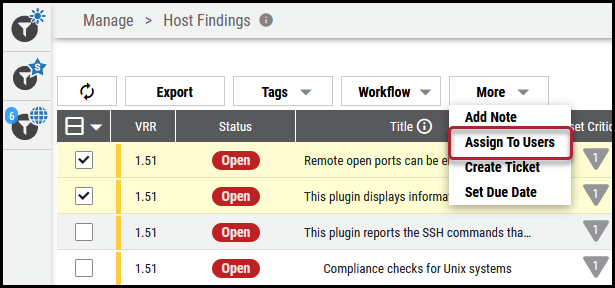 Assign Vulnerabilities - Assign to Users Location