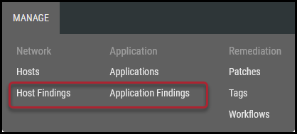 Assign Vulnerabilities - Host and Application Findings Menu Location