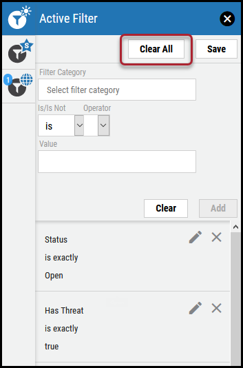 Clear Filter - Clear All Filter Button Location