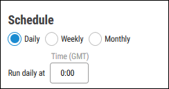 Connectors - Schedule Section in Configuration Window
