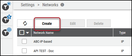 Create Network - Create Button Location