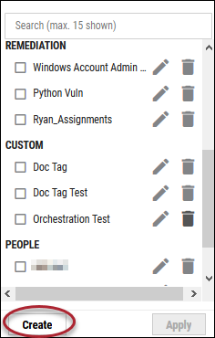 Create Tag List View - Create Button Location