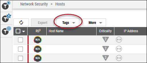 Create Tag List View - Tags Button Location