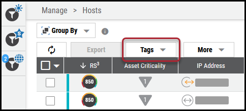 Create Tags on List View - Tags Button Location