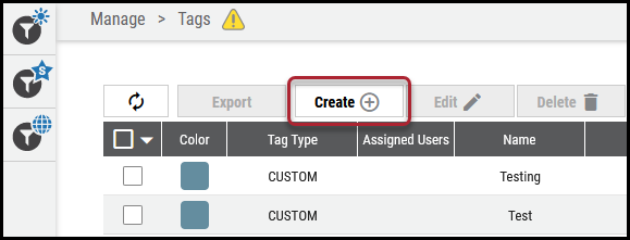 Create Tags on Tags Page - Create Button Location