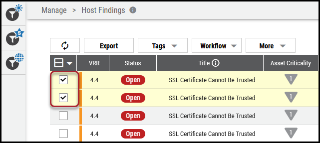 Create Workflow List View - Select Host Findings