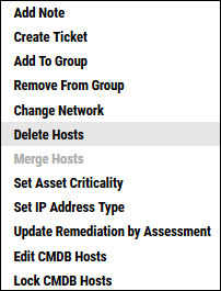 Delete Host - Delete Hosts Menu Location