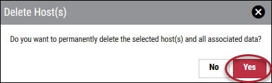 Delete Host - Delete Hosts Window