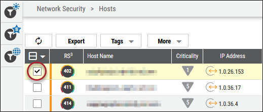 Delete Host - Selecting a Host