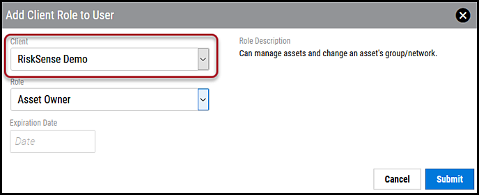 Disable User - Select Client