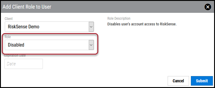 Disable User - Select Disabled Role-1