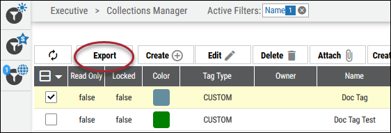Export Tag - Export Button Location