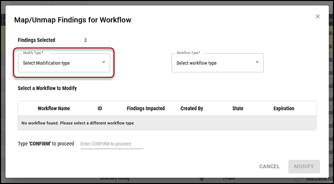 Findings to Workflow - Modify Type