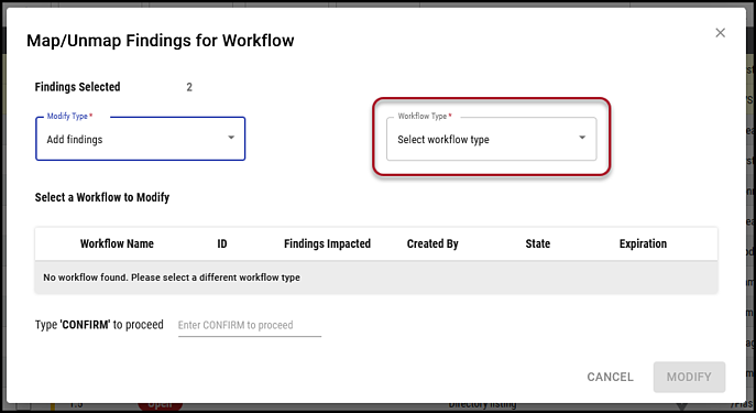 Findings to Workflow - Workflow Type