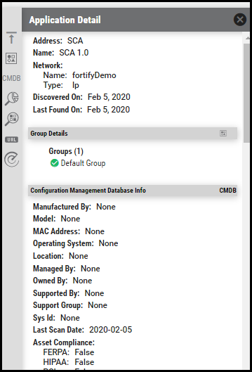 Fortify - Application Detail Pane Information