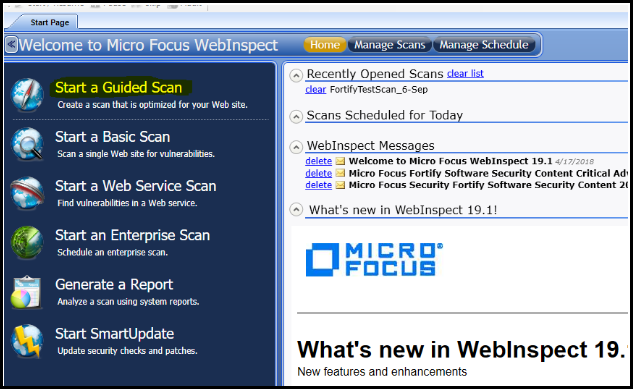 Fortify Scan - Start Page