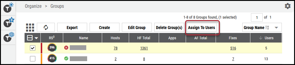 Groups Page - Assign to Users Button