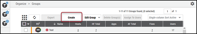 Groups Page - Create Group