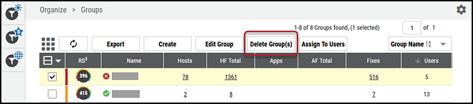 Groups Page - Delete Group