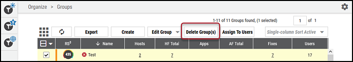 Groups Page - Delete Groups Button Location