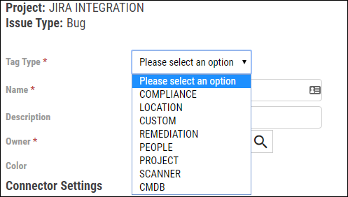 Jira Connector Guide - Select Tag Type