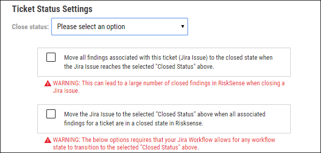 Jira Connector Guide - Ticket Status Settings Checkboxes