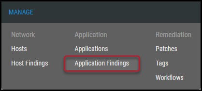 Navigation - Manage - Application Findings