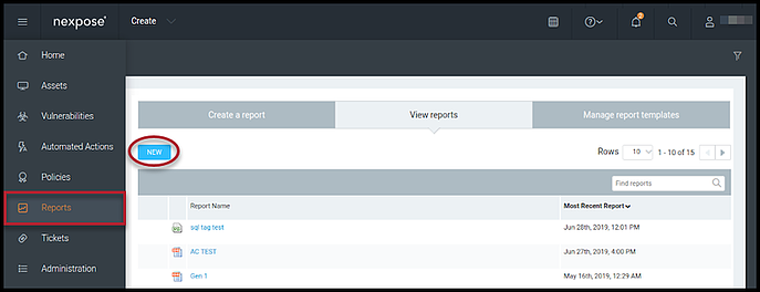 Nexpose Vuln Report - New Report Button