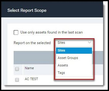 Nexpose Vuln Report - Select Report Scope