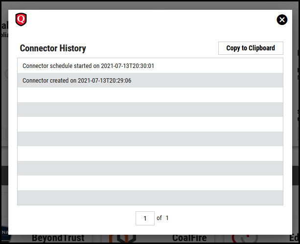 Qualys PC - Connector History