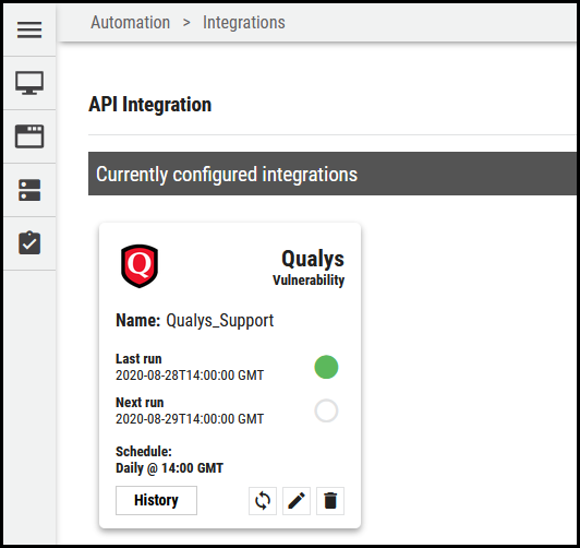 Qualys Vuln Connector - Currently Configured Integrations