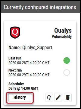 Qualys Vuln Connector - History Button Location