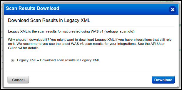 Qualys WAS - Download Scan Results in Legacy XML