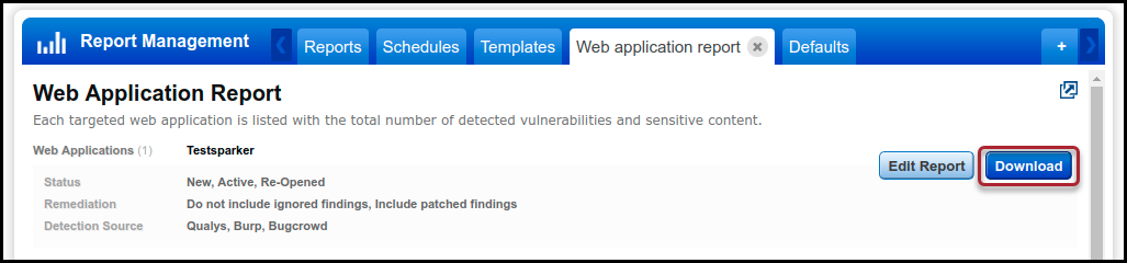 Qualys WAS - Download Web Application Report