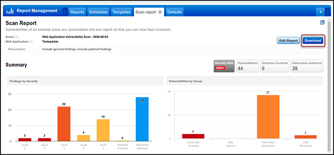 Qualys WAS - Scan Report - Download Button