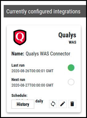 Qualys WAS Connector - Currently Configured Qualys WAS