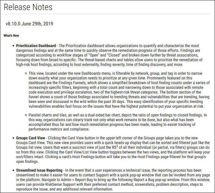 Release Notes Page