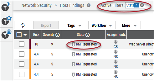 Remediation Filtering - State Filtered by RM Requested