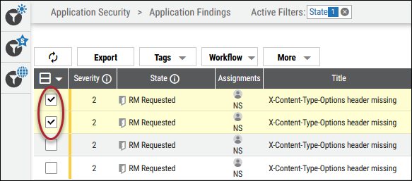 Remediation Reject - Selecting Application Findings