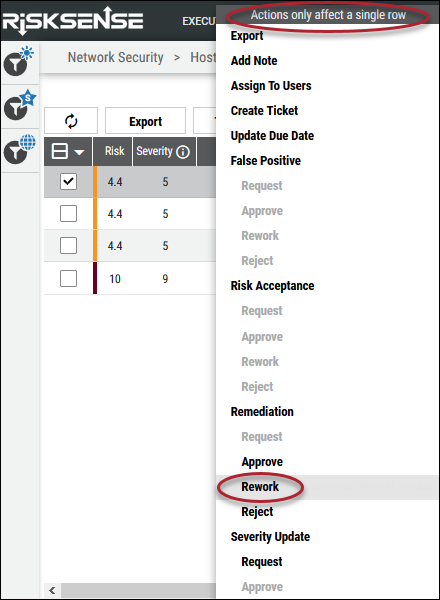 Remediation Rework - Rework Remediation Right Click Menu Location