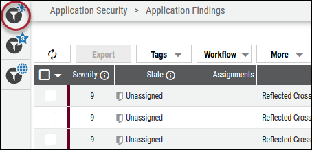 Risk Acceptance Filtering - Active Filters Button