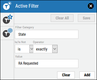 Risk Acceptance Filtering - RA Requested Filter Configuration