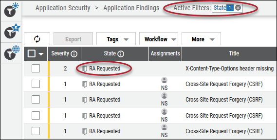 Risk Acceptance Filtering - State Filtered by RA Requested