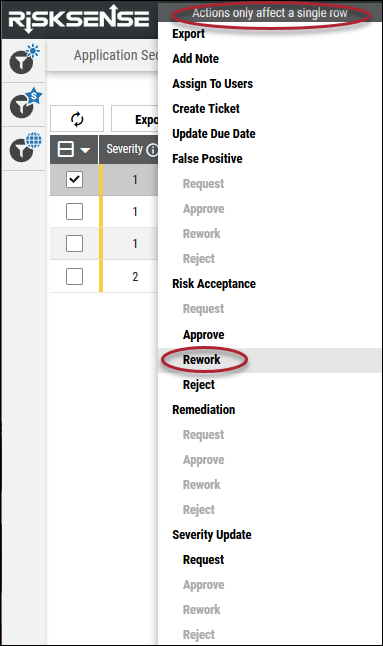Risk Acceptance Rework - Rework Risk Acceptance Right Click Menu Location